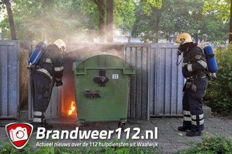Container met huisafval in brand aan het Distelplein Waalwijk
