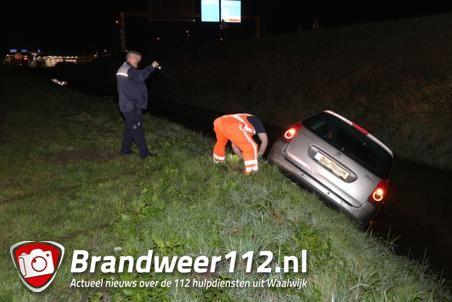 Bestuurder vliegt uit de bocht en belandt in de sloot aan de Havenweg Waalwijk