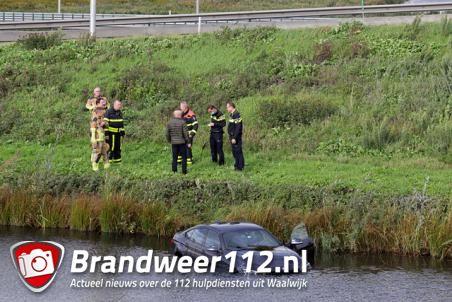 Man schrikt van wesp en rijdt het water in langs de A59 (Maasroute) Waalwijk