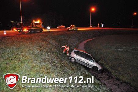 Auto in de sloot bij afrit A59 (Maasroute) Waalwijk
