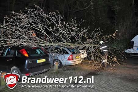 Boom op 4 auto's aan de Heulstraat Waalwijk