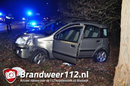Automobiliste vliegt uit de bocht en ramt boom in Waalwijk