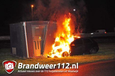 FOTO-UPDATE: Autobrand na aanrijding tegen transformatorhuisje aan de Prof. Asserweg Waalwijk