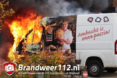 Bestelbusje van bakker gaat in vlammen op aan de Eikendonklaan Waalwijk