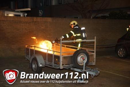 Brand op aanhanger Gustav Mahlerstraat Waalwijk