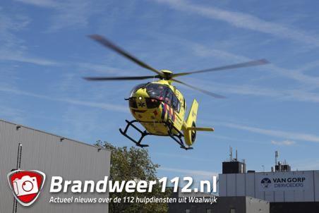 Traumahelikopter ingezet bij bedrijfsongeval aan de Sluisweg Waalwijk