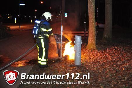 Afvalbak in brand bij Lido Waalwijk