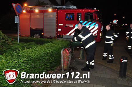 Klein brandje in prullenbak aan de Burg. Moonenlaan Waalwijk
