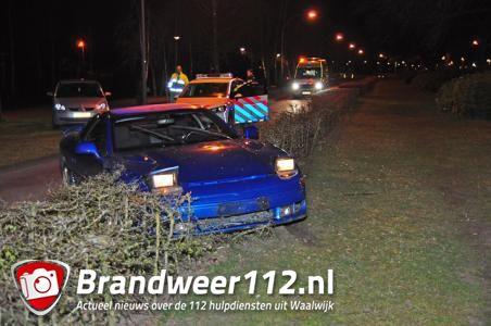 Dronken bestuurder rijdt met auto de bosjes in aan de Burg. van der Klokkenlaan Waalwijk