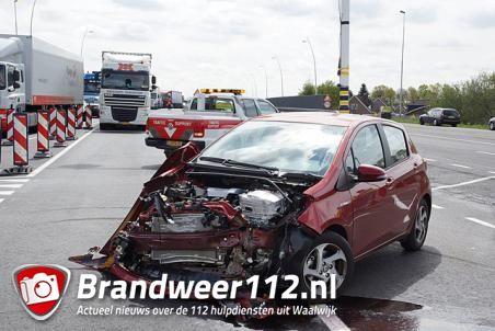 Grote ravage na 2 ongelukken in korte tijd bij nieuwe tunnel op Midden-Brabantweg Waalwijk