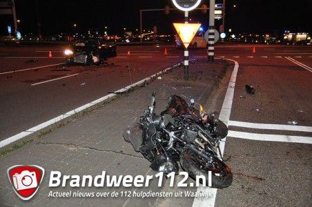 Motorrijder gewond bij aanrijding met auto op de Midden-Brabantweg Waalwijk