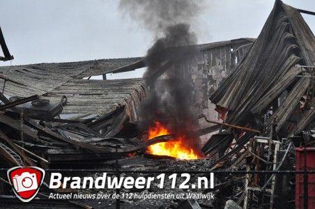Vlammen laaien weer op aan de Spuiweg Waalwijk