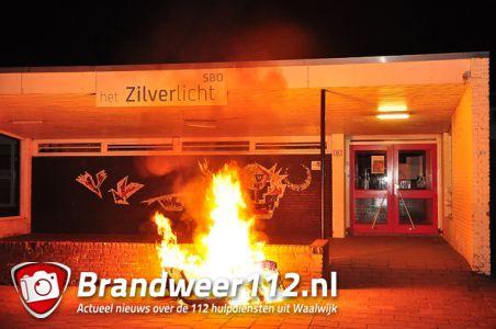 Containerbrand op schoolterrein aan het Oranjeplein Waalwijk