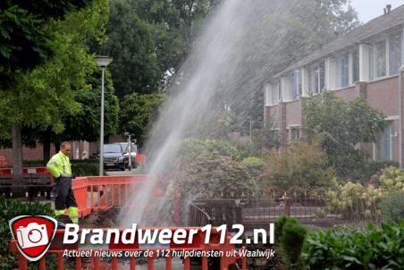 Enorme waterfontein aan de Carl Maria von Weberstraat Waalwijk