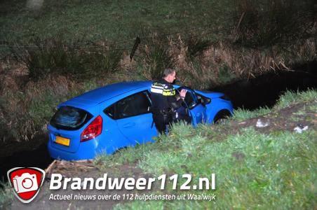 Man wijkt uit voor konijn en belandt met wagen in de sloot in Waalwijk