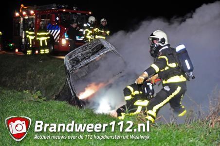 Auto gaat in vlammen op aan de Weteringweg Waalwijk