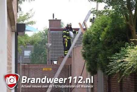 Klein brandje op dak aan de Grotestraat in Waalwijk