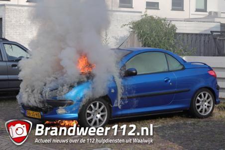 Auto gaat in vlammen op aan de Willem Alexanderhof Waalwijk