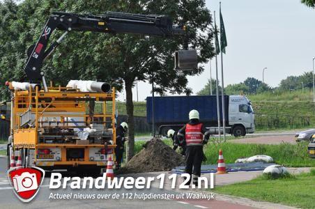 Gaslek door werkzaamheden aan de Kleiweg Waalwijk