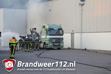 Vrachtwagen in brand bij bedrijf aan de Industrieweg in Waalwijk