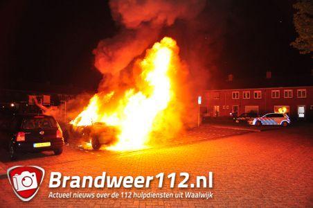 Renault cabrio gaat in vlammen op aan de Jan van Ruusbroeckstraat Waalwijk