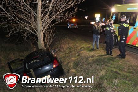 Bestuurder rijdt met auto tegen boom aan de Valkenvoortweg Waalwijk