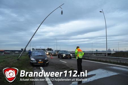 Automobiliste knalt tegen lantaarnpaal op N261 bij Waalwijk