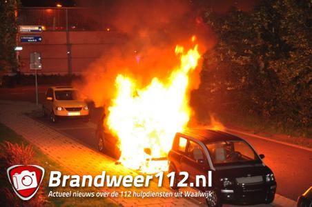 Felle autobrand aan de Heulstraat Waalwijk