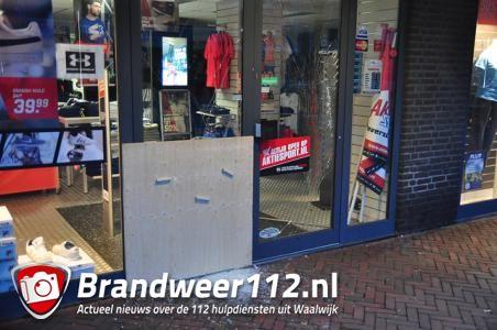 Weer een inbraak bij winkel van Aktiesport aan de Markt Waalwijk
