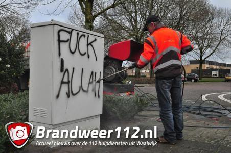Vandalen spuiten 'Fuck Allah' op VRI-kast in Waalwijk
