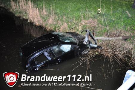 Dronken bestuurster rijdt met auto in de sloot aan de Valkenvoortweg Waalwijk