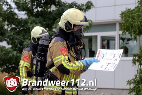 Brandweer oefening bij Maiburg schuurtechniek aan de Schutweg Waalwijk