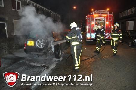 Omstanders blussen autobrand aan de Baardwijksestraat Waalwijk